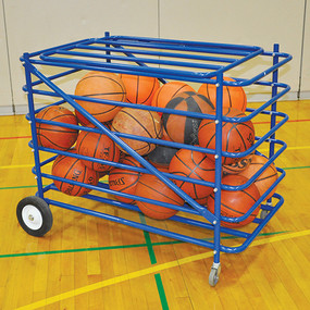 Stores up to 28 basketballs