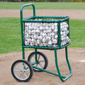 Large capacity basket holds hundreds of baseball/softballs