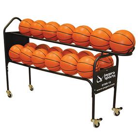Holds 19 regulation basketballs