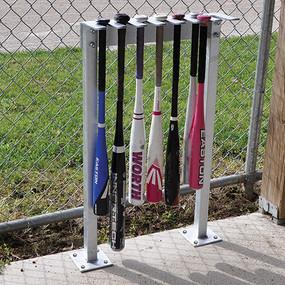 Heavy-duty galvanized steel bat rack holds up to 14 bats