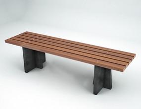 Angular Granite + Hardwood Bench