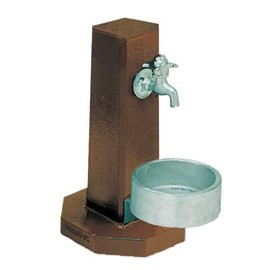 Square Pedestal with Cast Aluminum Pet Bowl
