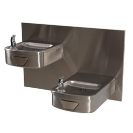 Rounded Box Barrier-Free Wall Mount Bi-Level Drinking Fountain