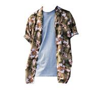 Vintage Khaki & Caramel Hawaiian Print Shirt