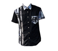 Vintage Black White Print Shirt