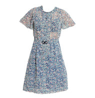 Vintage Blue Floral Dress & Matching Belt