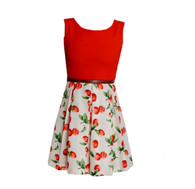 Vintage Red Citrus Print Dress