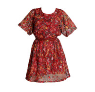 Vintage Red Wine Lace Dress