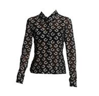 Vintage Sheer Black & White Flower 90's Shirt