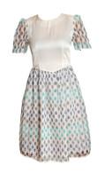 Vintage White and Blue Raindrop Dress