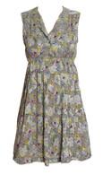 Vintage Green Floral Print Dress
