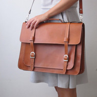 Golden Ponies Accessories - Leather Satchel in Tan