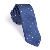 OTAA Navy Blue with Pink Polka Dot Skinny Tie