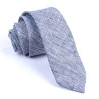 OTAA Navy Blue Linen Chambray Skinny Tie