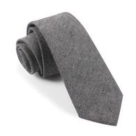 OTAA Black & White Twill Stripe Linen Skinny Tie