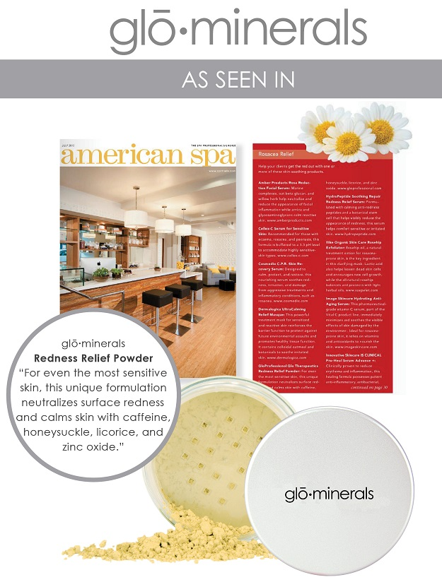 gloMinerals Redness Relief Powder Featured in American Spa Magazine