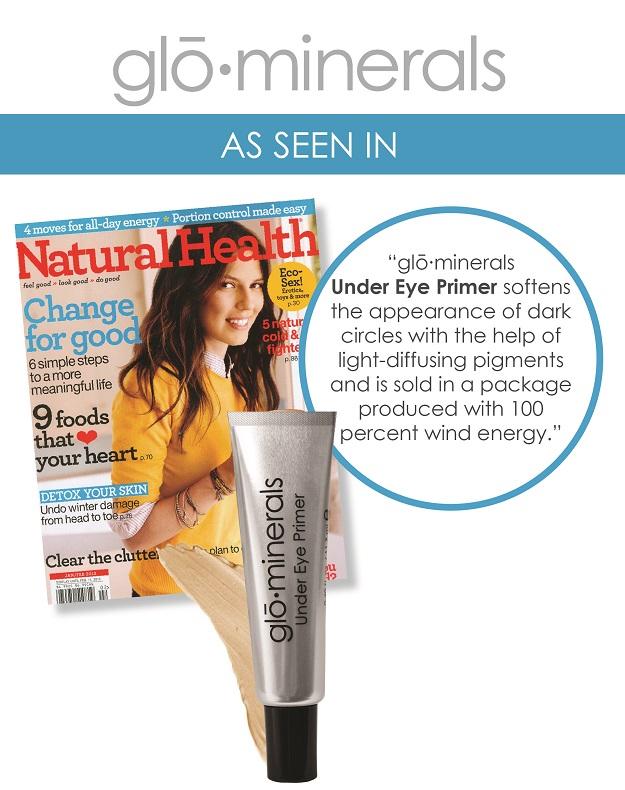 gloMinerals Under Eye Primer Featured in Natural Health Magazine