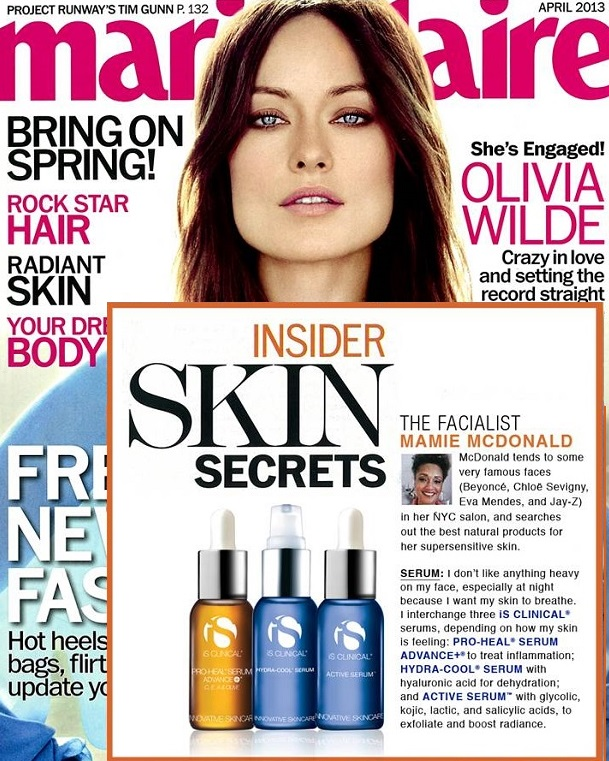 iS Clinical Active Serum Featured in Marie Claire Magazine