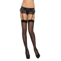 Black Cirilla's Plus Size Sheer Thigh High - Front