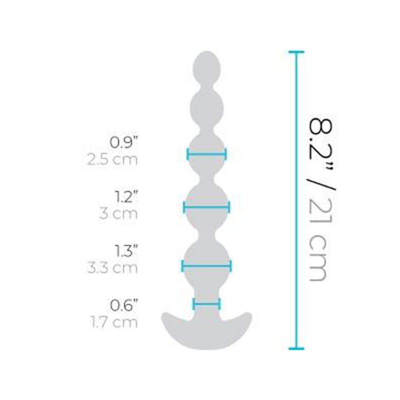 Black b-Vibe Remote Control Cinco XL Anal Beads - Measurements