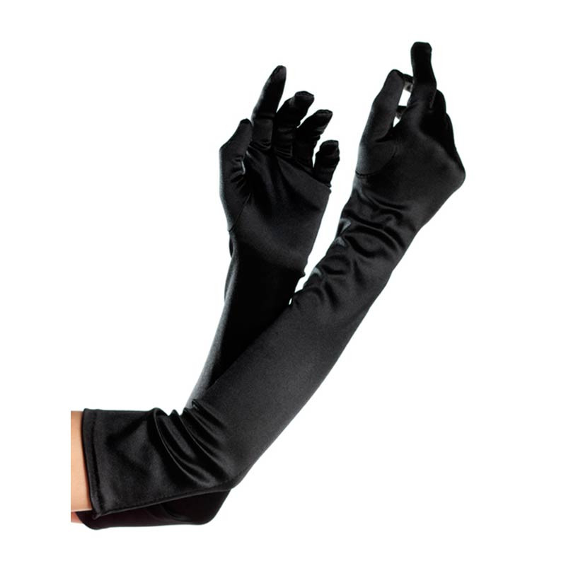 Opera Length Spandex Gloves - Black