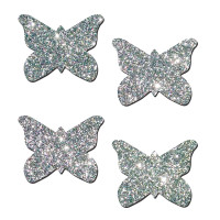 Petite Butterfly Pasties - Silver Glitter