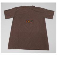 Anasazi crewneck tee is 100% pre-shrunk cotton. Short sleeve Color is cocoa