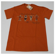 Ruins crewneck tee is 100% cotton Short sleeved Color is orange