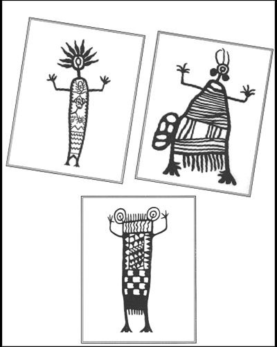 Milt's Burford's Coso Petroglyph designs collection of single Petroglyph notecards number almost two dozen. When you purchase a a  Petroglyph notecard we will ship a single, random blank notecard to you. Take a chance and see what you'll get!