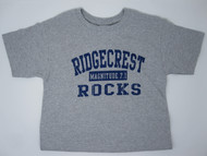 Ridgecrest Rocks youth t-shirt 90% cotton 10% poly Short sleeve color is grey