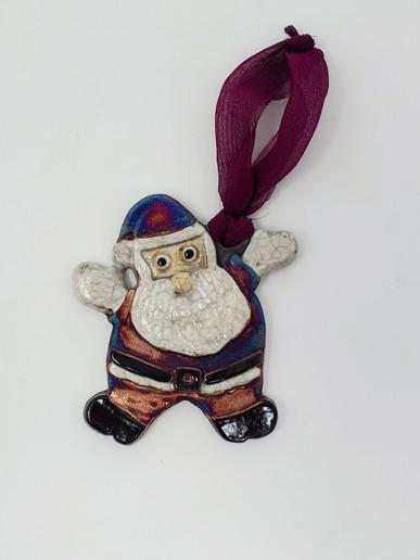 Raku Santa Ornament