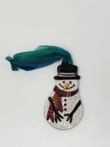 Raku Snowman Ornament