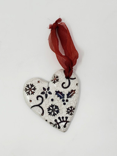Raku White Heart Ornament