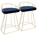 Canary Contemporary-Glam Counter Stool in Gold with Blue Velvet by LumiSource - Set of 2