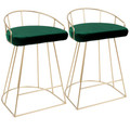Canary Contemporary-Glam Counter Stool in Gold with Green Velvet by LumiSource - Set of 2