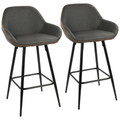 """Clubhouse Contemporary 26"""" Counter Stool with Black Frame and Grey Vintage Faux Leather by LumiSource - Set of 2"""