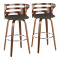 Cosini Mid-Century Modern Barstool with Swivel in Walnut and Charcoal Fabric by LumiSource - Set of 2