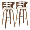 Cosini Mid-Century Modern Barstool with Swivel in Walnut and Cream Faux Leather by LumiSource - Set of 2