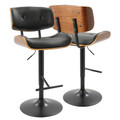 Lombardi Mid-Century Modern Adjustable Barstool in Walnut with Black Faux Leather by LumiSource