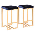 """Midas 26"""" Contemporary-Glam Counter Stool in Gold with Blue Velvet Cushion by LumiSource - Set of 2"""