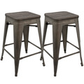 Oregon Industrial Stackable Counter Stool in Antique and Espresso by LumiSource - Set of 2