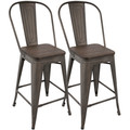 Oregon Industrial High Back Counter Stool in Antique and Espresso by LumiSource - Set of 2