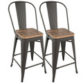 Oregon Industrial High Back Counter Stool in Grey and Brown by LumiSource - Set of 2