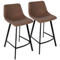 Outlaw Industrial Counter Stool in Black with Brown Faux Leather by LumiSource - Set of 2
