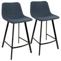 Outlaw Industrial Counter Stool in Black with Blue Faux Leather by LumiSource - Set of 2