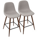 Pebble Mid-Century Modern Counter Stool in Walnut and Light Grey by LumiSource - Set of 2