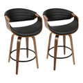 Symphony Mid-Century Modern Counter Stool in Walnut and Black Faux Leather by LumiSource - Set of 2
