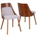 Anabelle Mid-Century Modern Dining/Accent Chair in Walnut and Grey Fabric by LumiSource