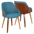 Bacci Mid-Century Modern Dining/ Accent Chair in Walnut Wood and Teal Fabric by LumiSource