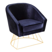 Canary Contemporary-Glam Tub Chair in Gold Metal and Royal Blue Velvet by LumiSource